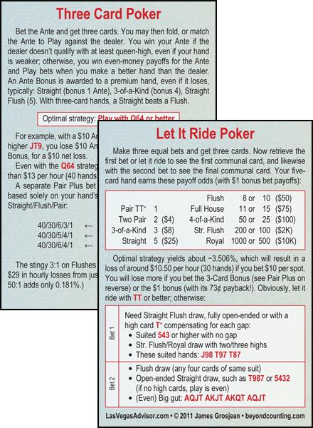 Let It Ride Three Card Poker Las Vegas Advisor